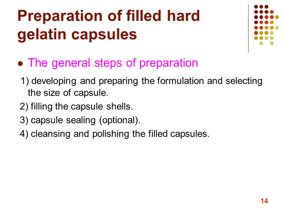 Preparation of filled hard gelatin capsules