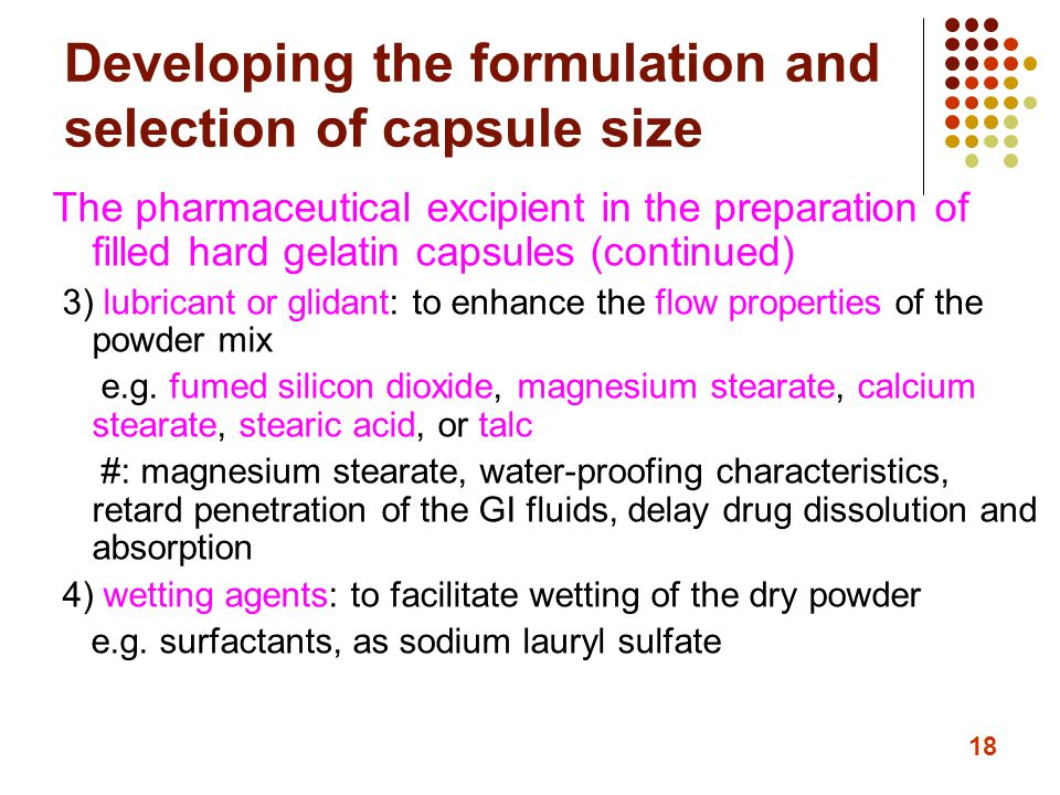 Developing the formulation and selection of capsule size