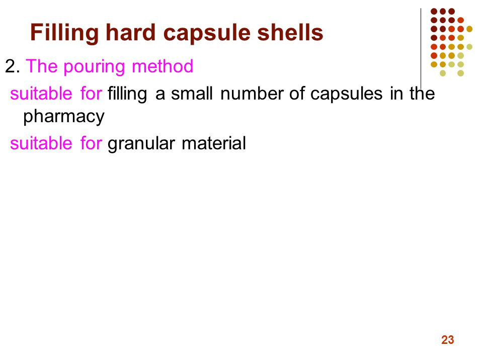 Filling hard capsule shells