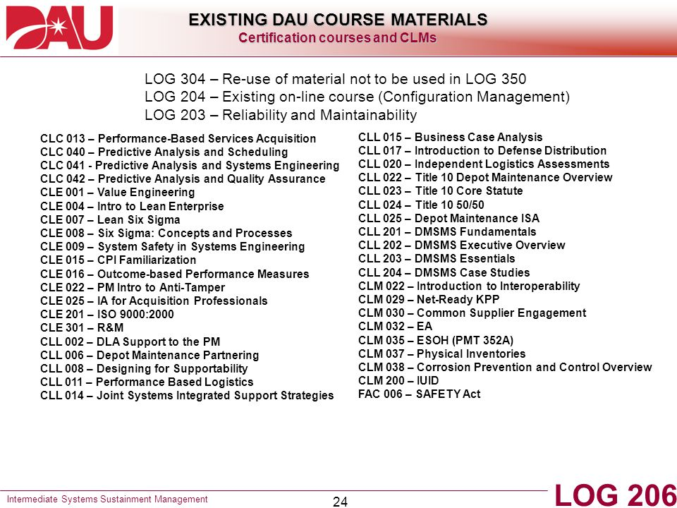 EXISTING DAU COURSE MATERIALS Certification courses and CLMs