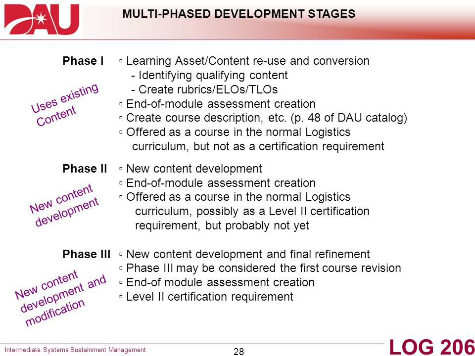 MULTI-PHASED DEVELOPMENT STAGES