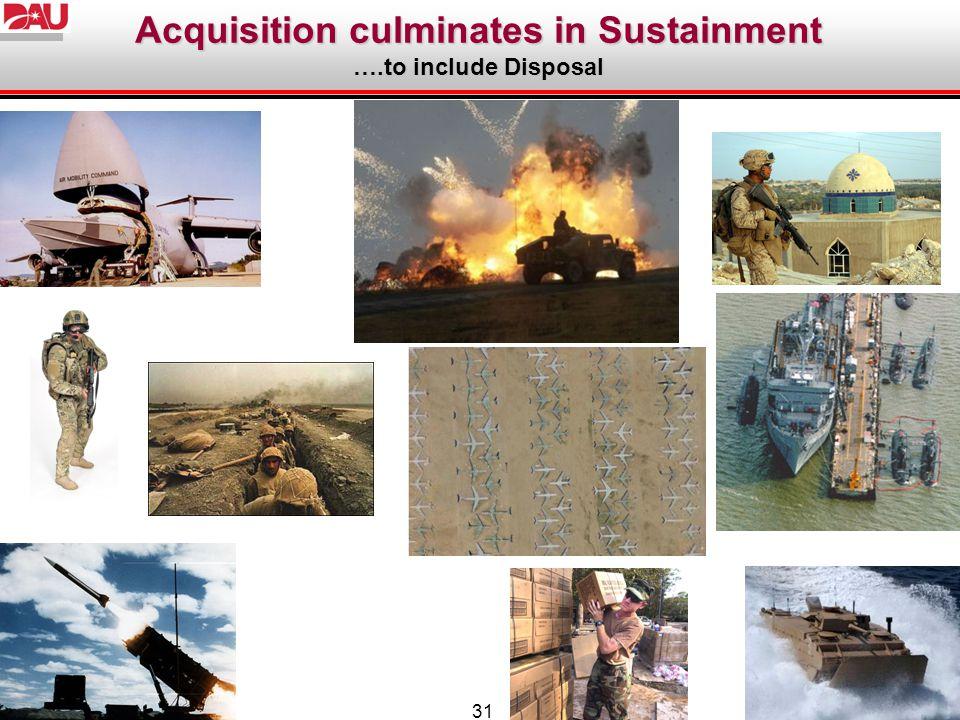 Acquisition culminates in Sustainment