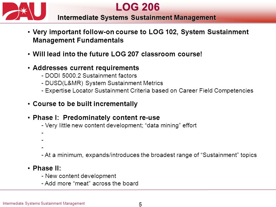 Intermediate Systems Sustainment Management