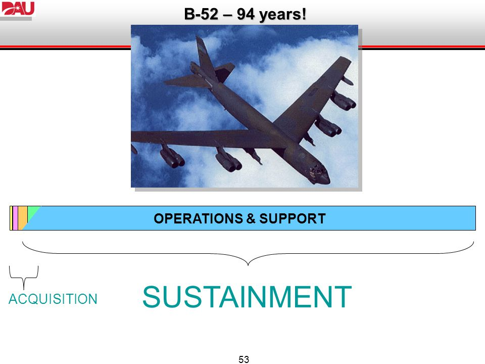 SUSTAINMENT B-52 – 94 years! OPERATIONS & SUPPORT ACQUISITION