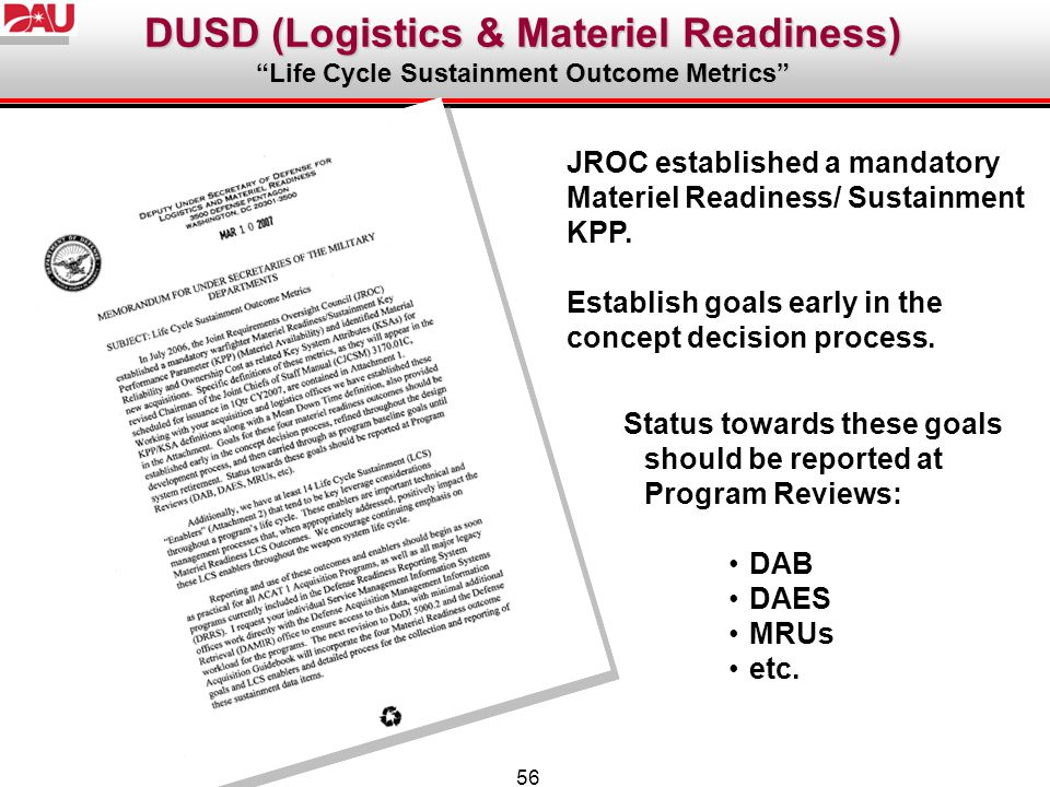 DUSD (Logistics & Materiel Readiness)