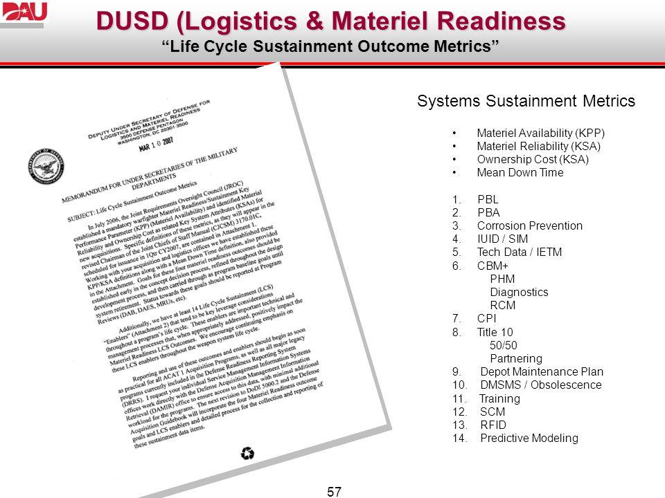 DUSD (Logistics & Materiel Readiness