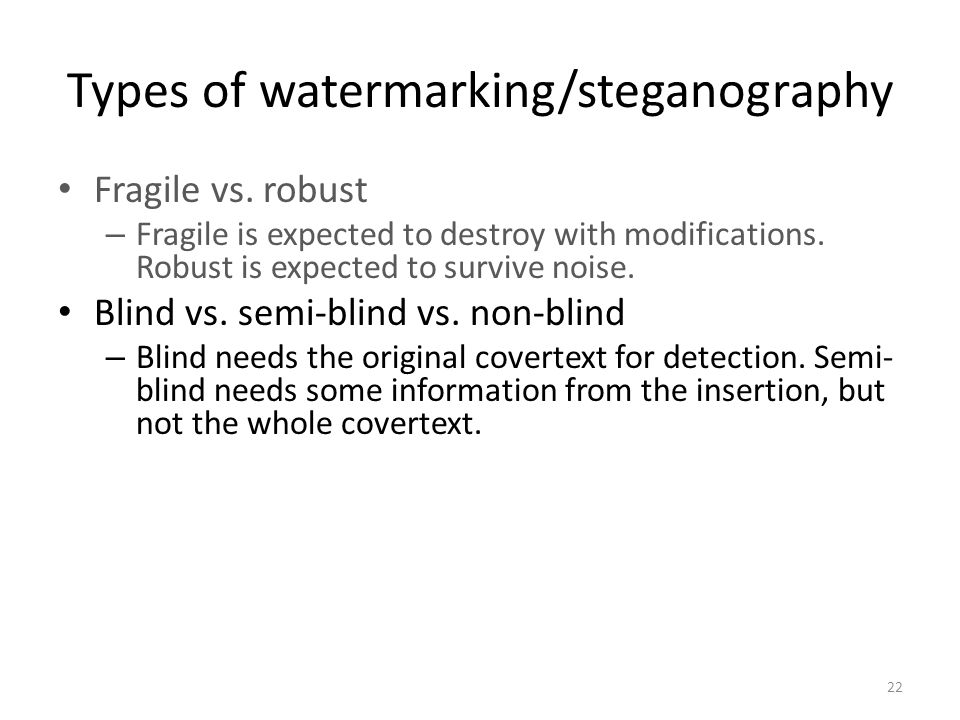 Types of watermarking/steganography