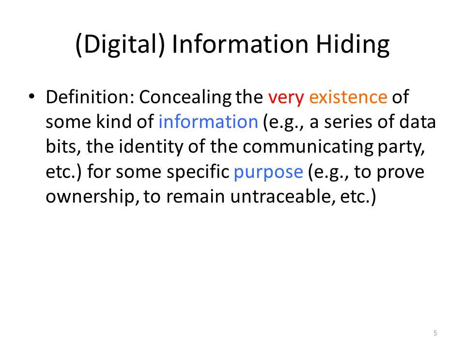(Digital) Information Hiding