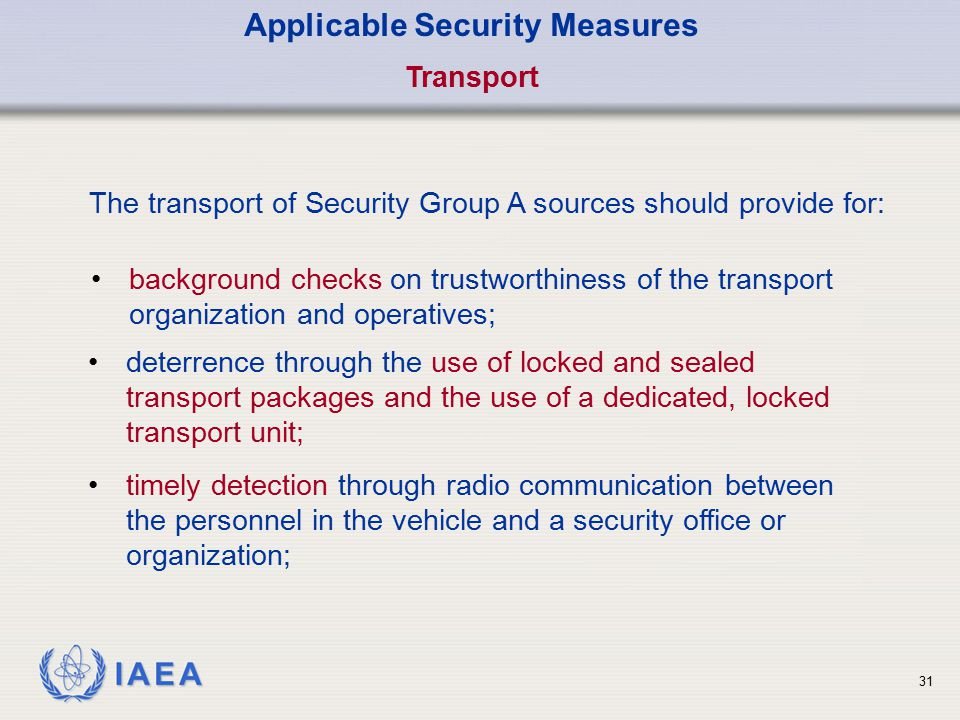 Applicable Security Measures