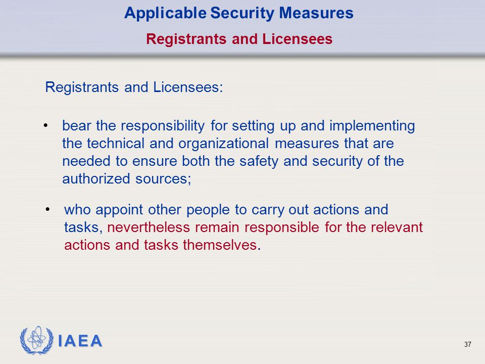 Applicable Security Measures Registrants and Licensees