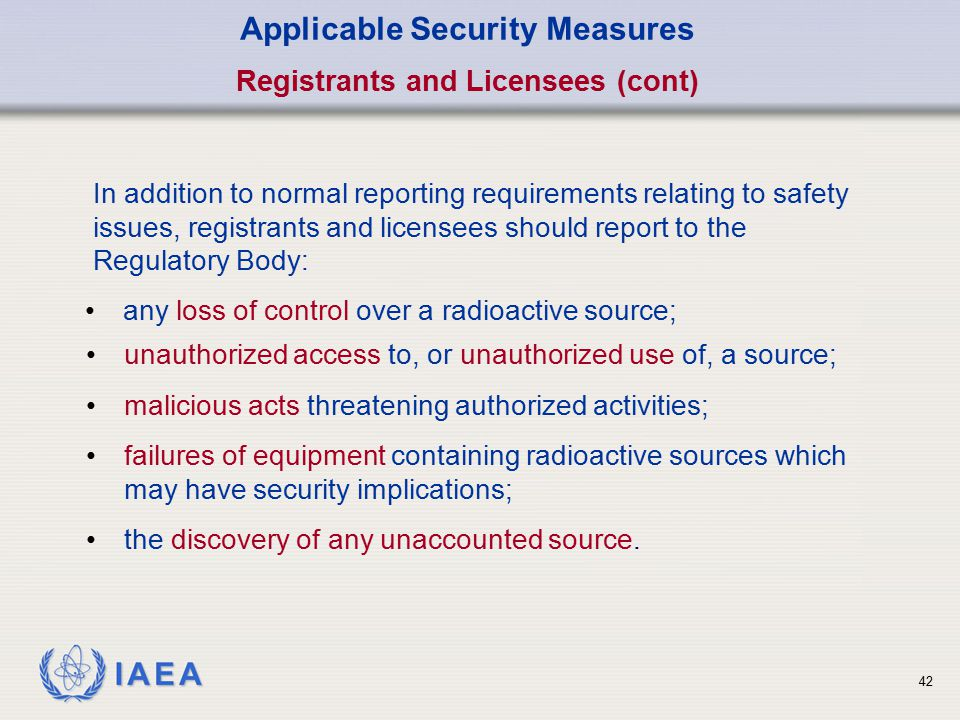 Applicable Security Measures Registrants and Licensees (cont)