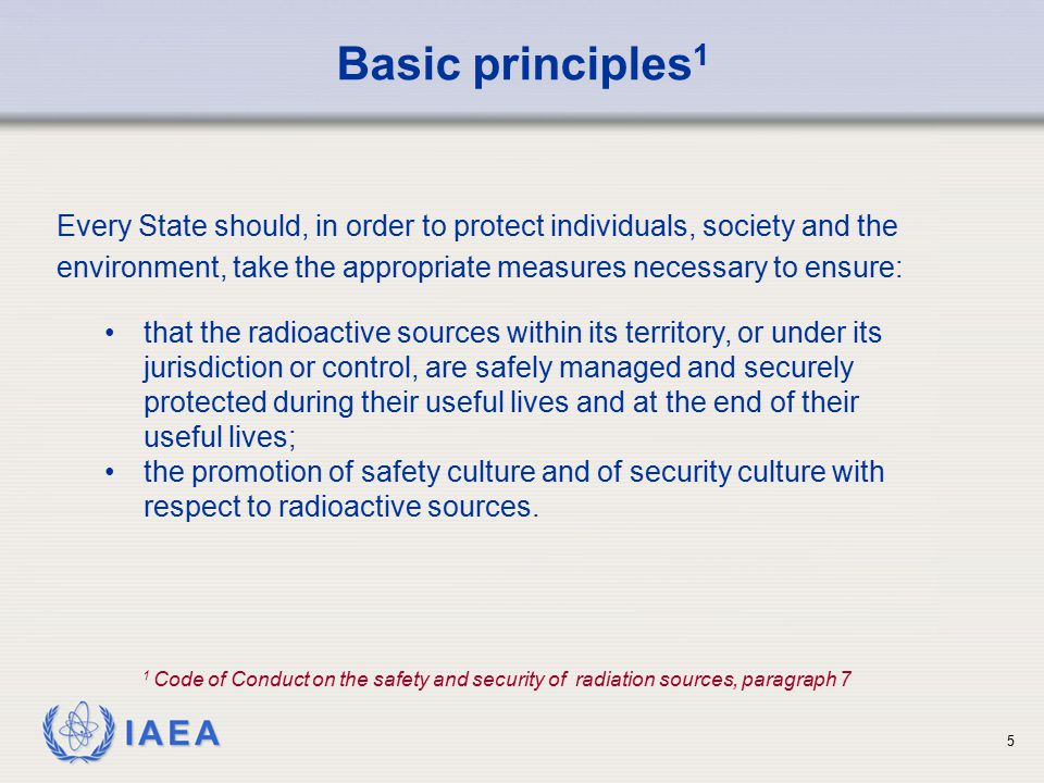 Basic principles1 Every State should, in order to protect individuals, society and the.