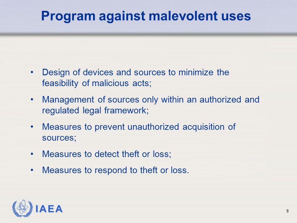 Program against malevolent uses