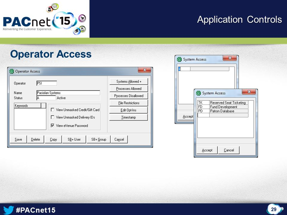 Application Controls Operator Access