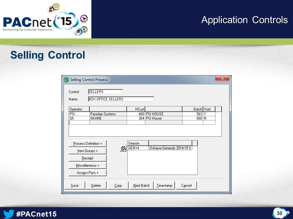 Application Controls Selling Control