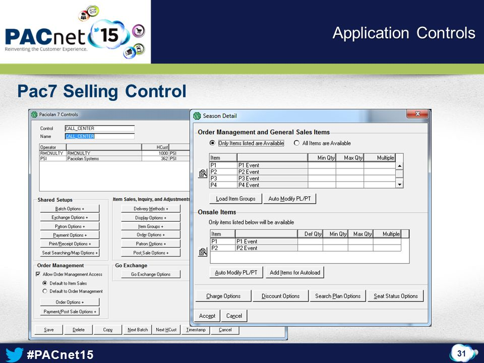 Application Controls Pac7 Selling Control