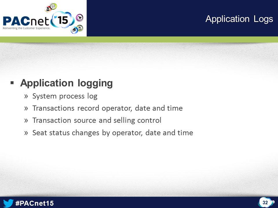Application logging Application Logs System process log