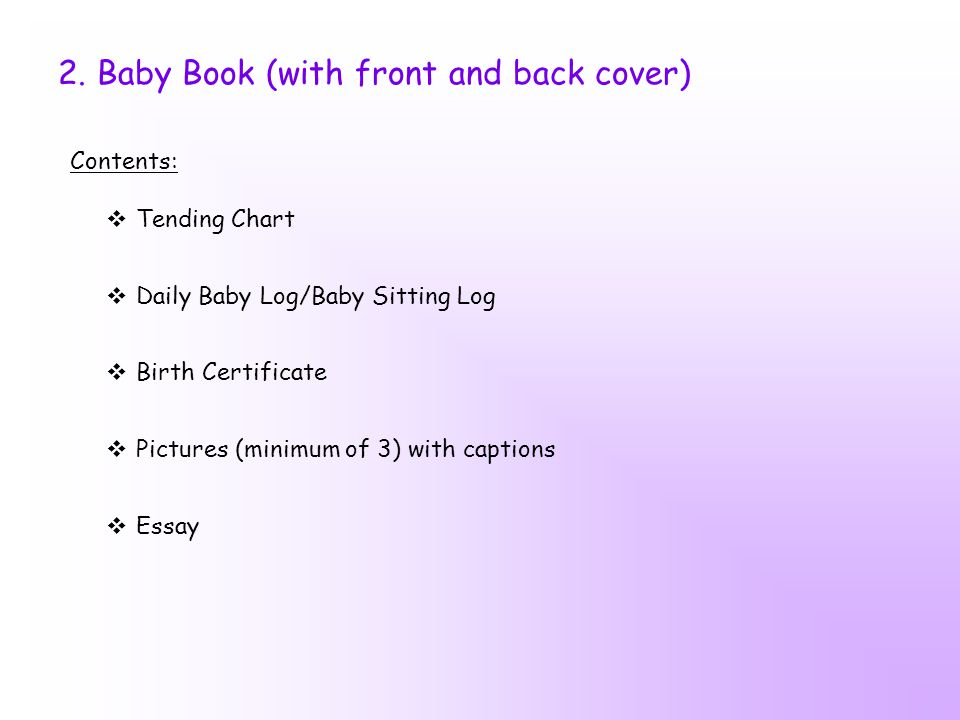 2. Baby Book (with front and back cover)