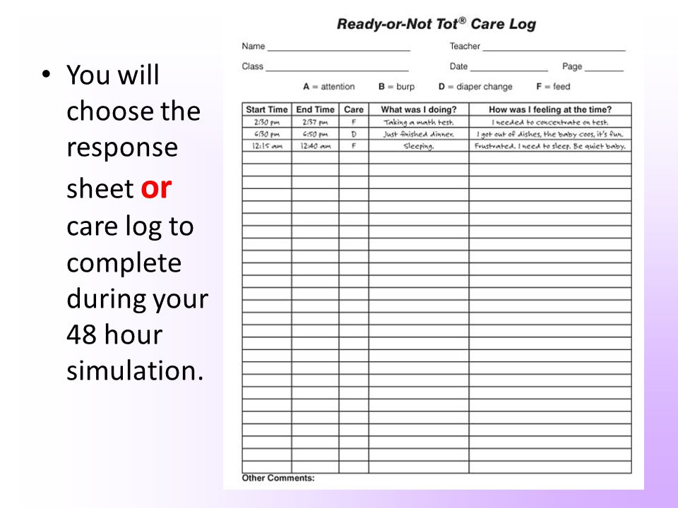 You will choose the response sheet or care log to complete during your 48 hour simulation.