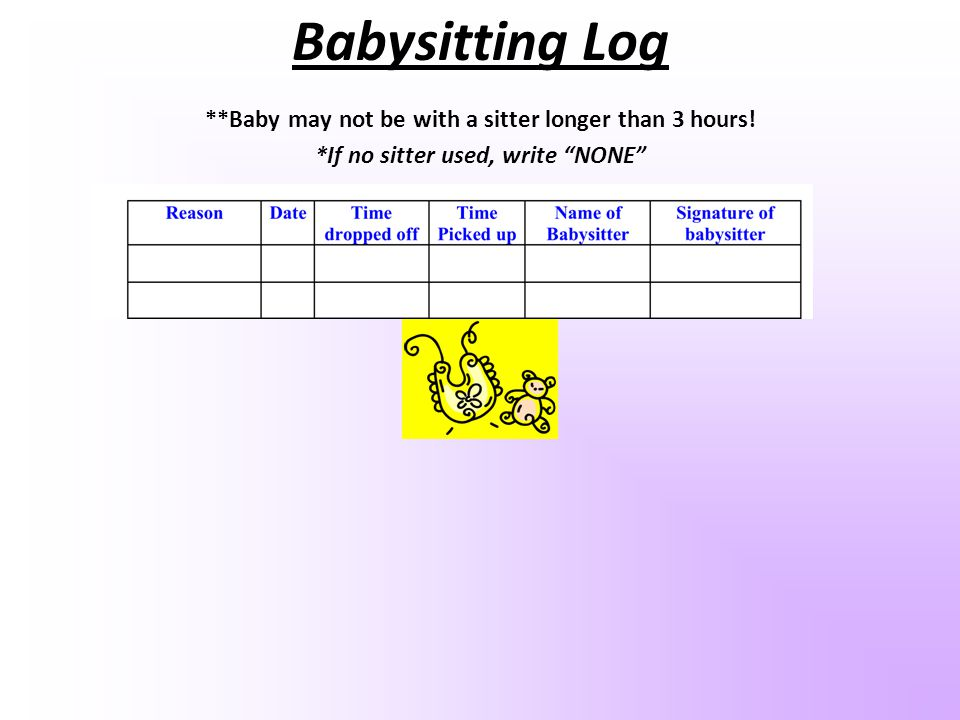 Babysitting Log **Baby may not be with a sitter longer than 3 hours!