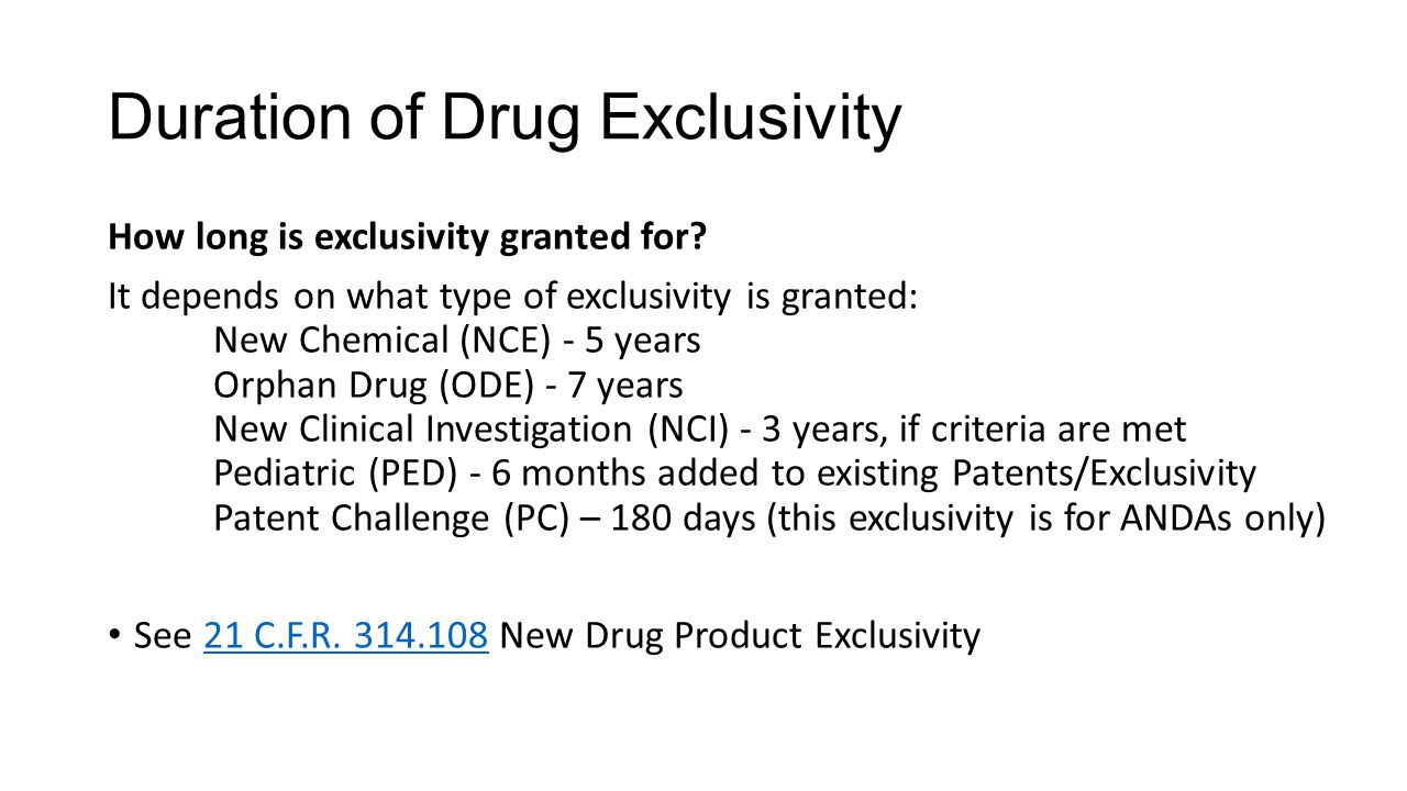 Duration of Drug Exclusivity