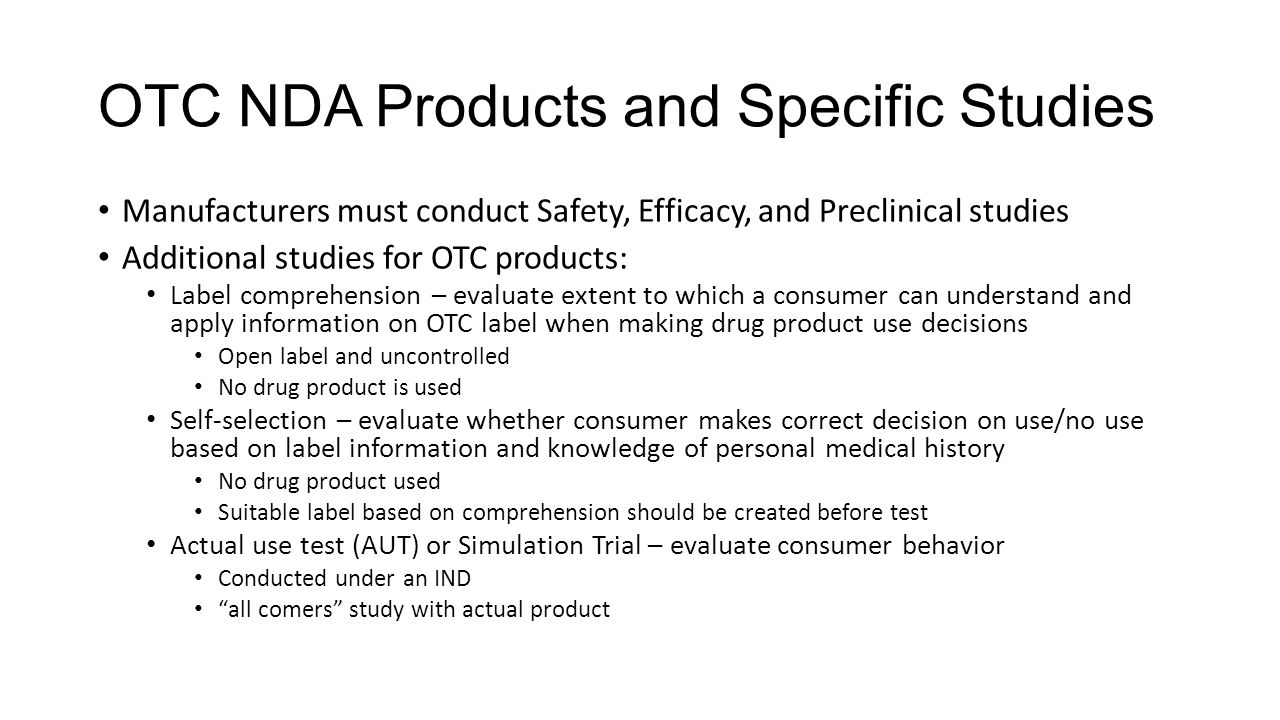 OTC NDA Products and Specific Studies