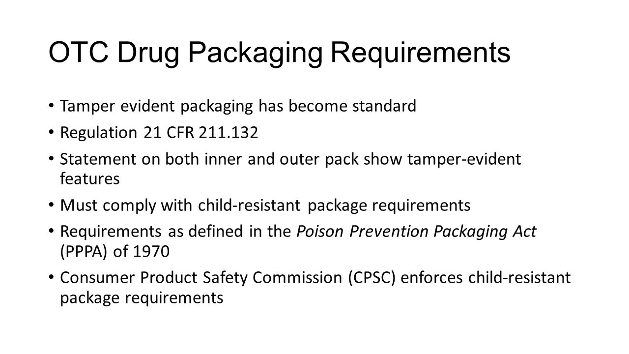 OTC Drug Packaging Requirements