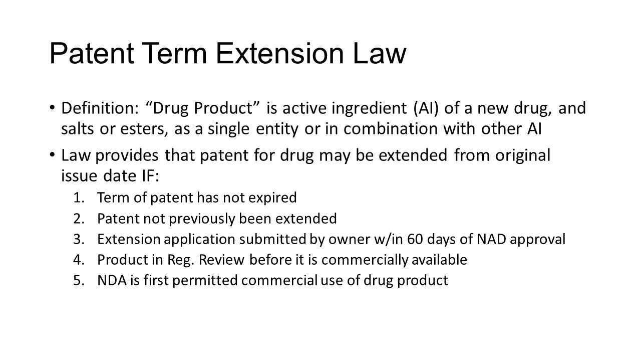 Patent Term Extension Law
