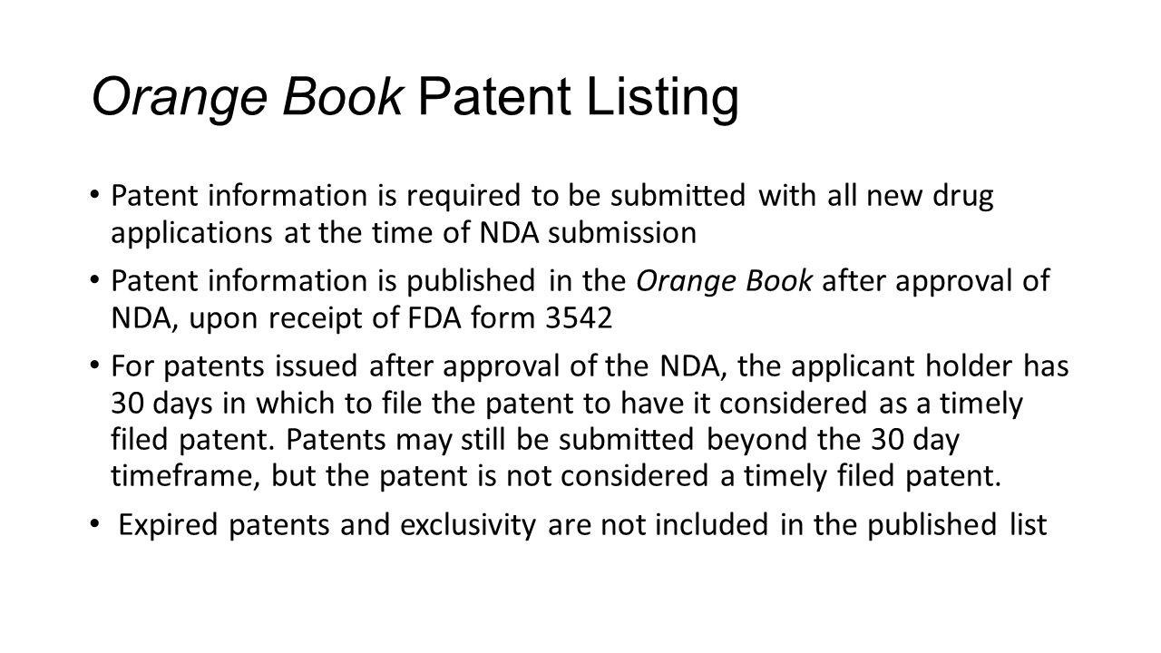 Orange Book Patent Listing