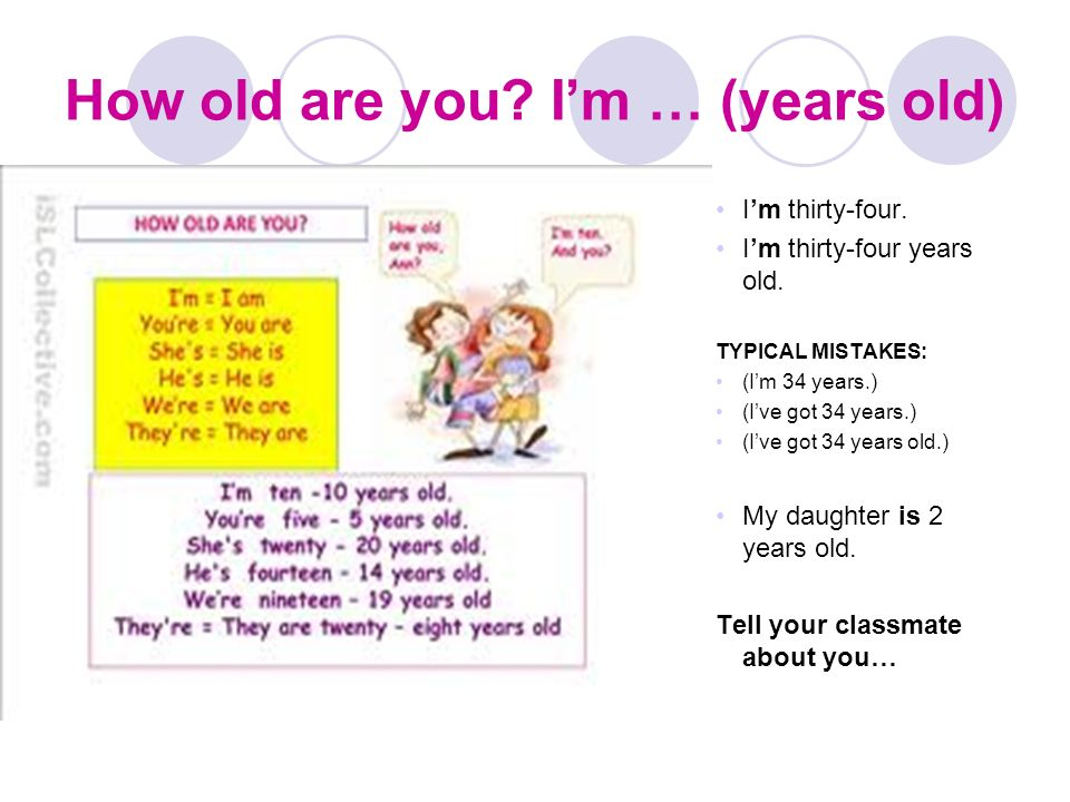 How old are you I'm … (years old)