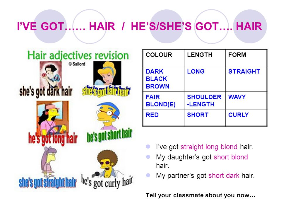 I'VE GOT…… HAIR / HE'S/SHE'S GOT…. HAIR