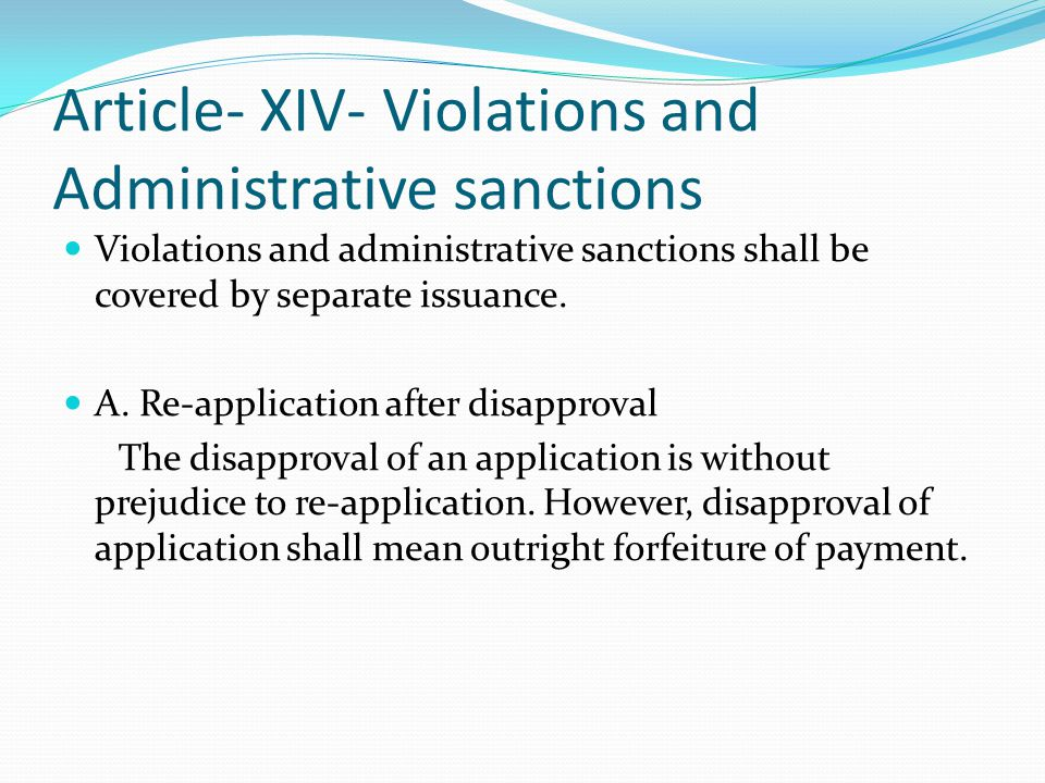 Article- XIV- Violations and Administrative sanctions
