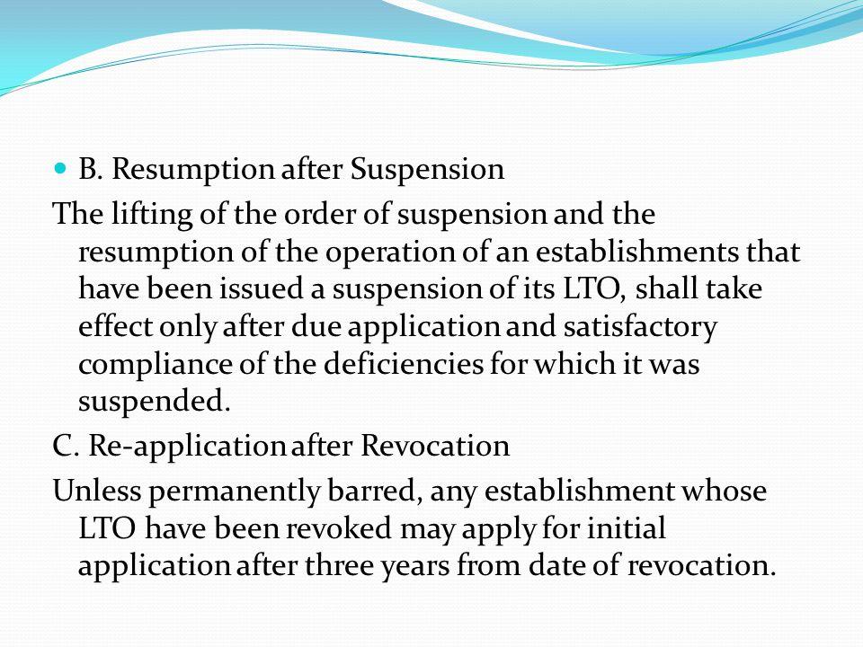 B. Resumption after Suspension