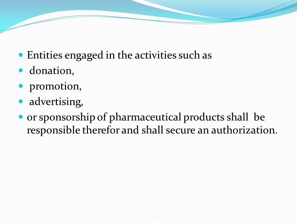 Entities engaged in the activities such as