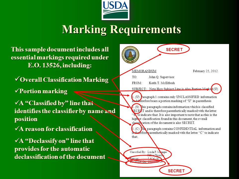 Marking Requirements Overall Classification Marking