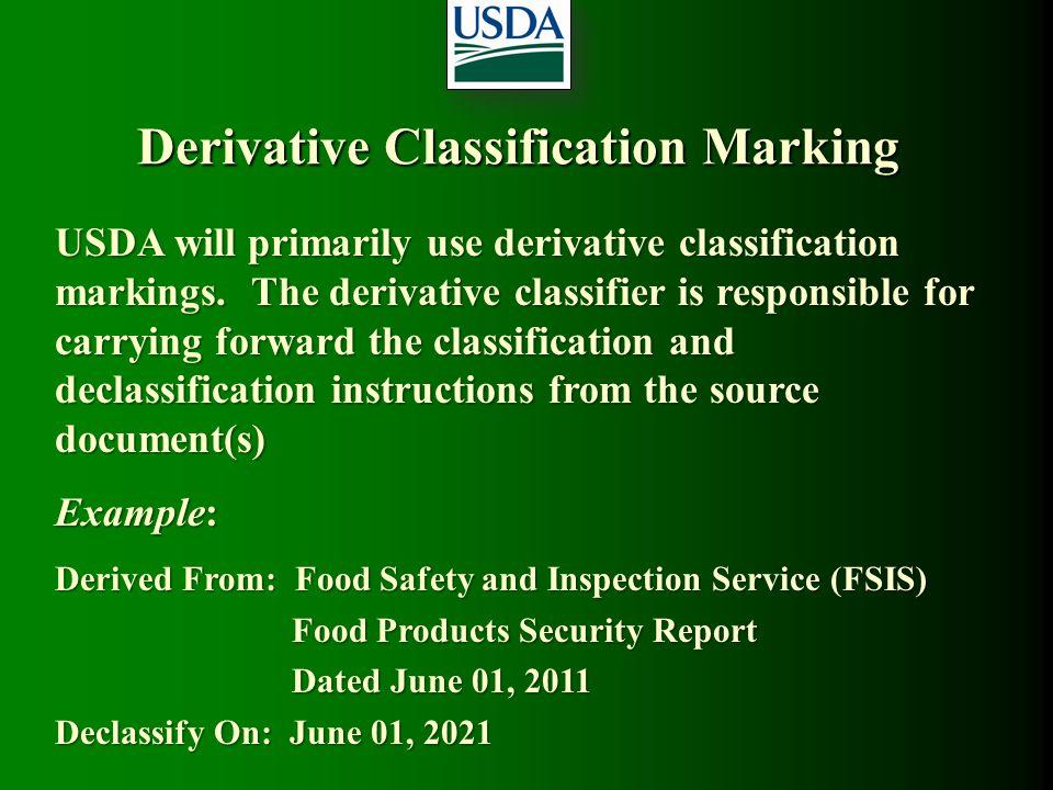 Derivative Classification Marking
