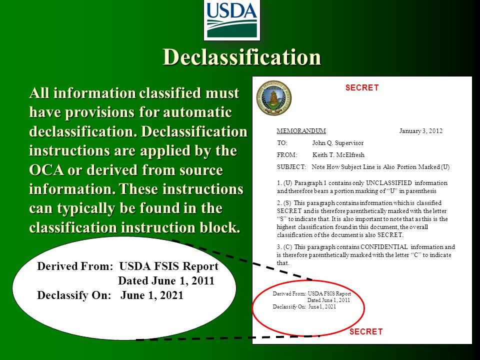 Declassification SECRET. MEMORANDUM January 3, 2012. TO: John Q. Supervisor.