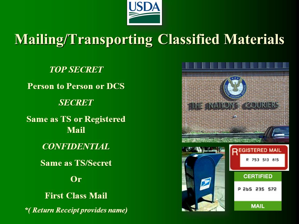 Mailing/Transporting Classified Materials