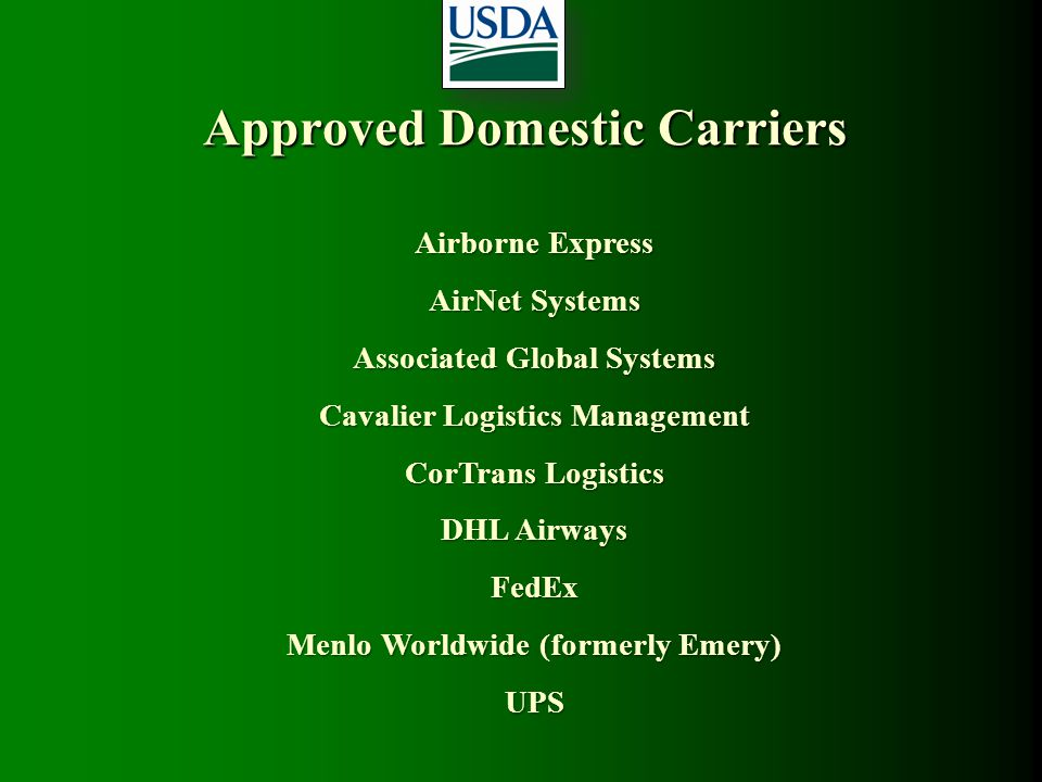 Approved Domestic Carriers