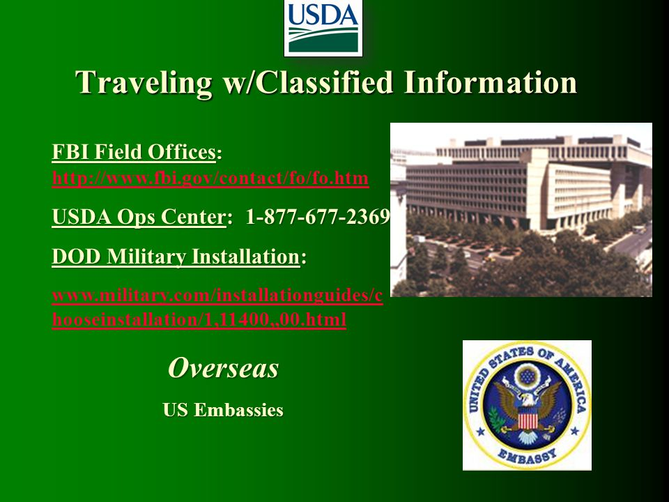 Traveling w/Classified Information