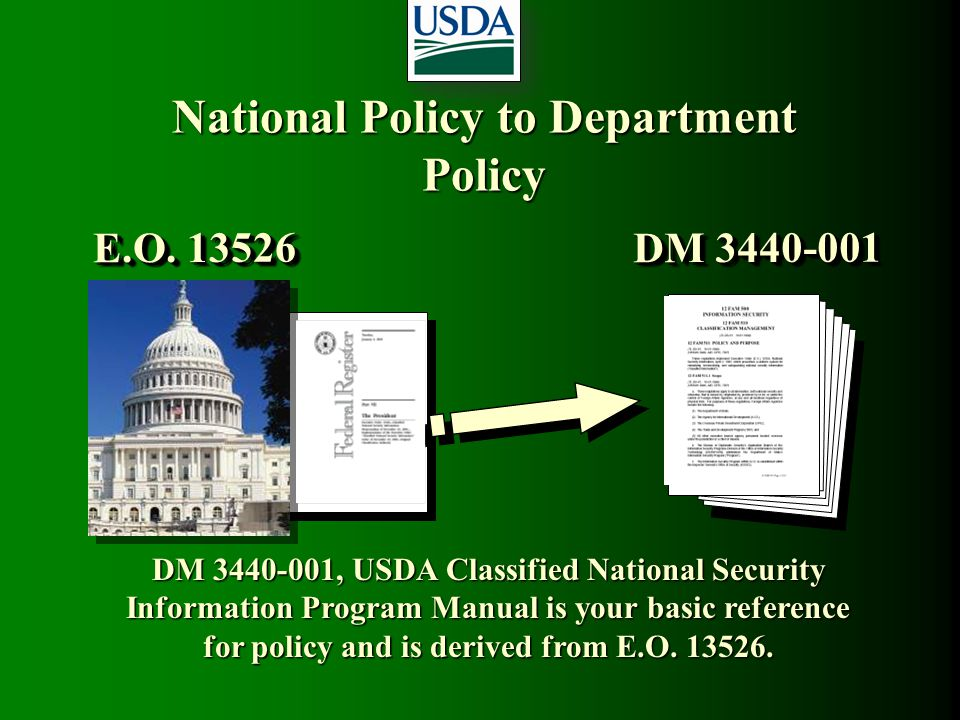 National Policy to Department Policy