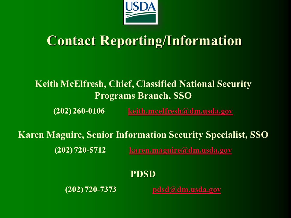 Contact Reporting/Information