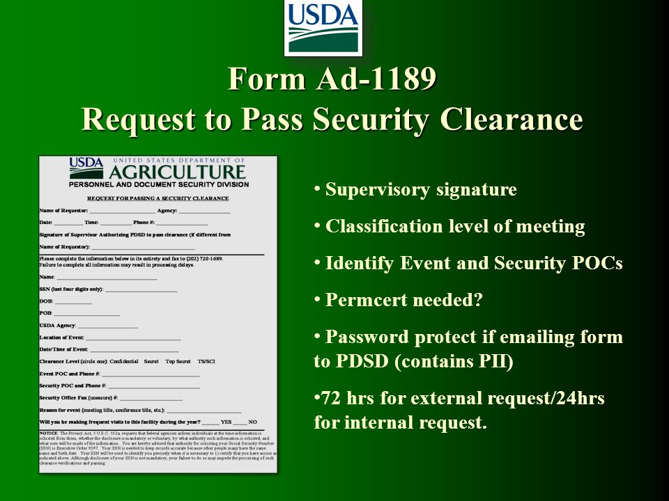 Form Ad-1189 Request to Pass Security Clearance