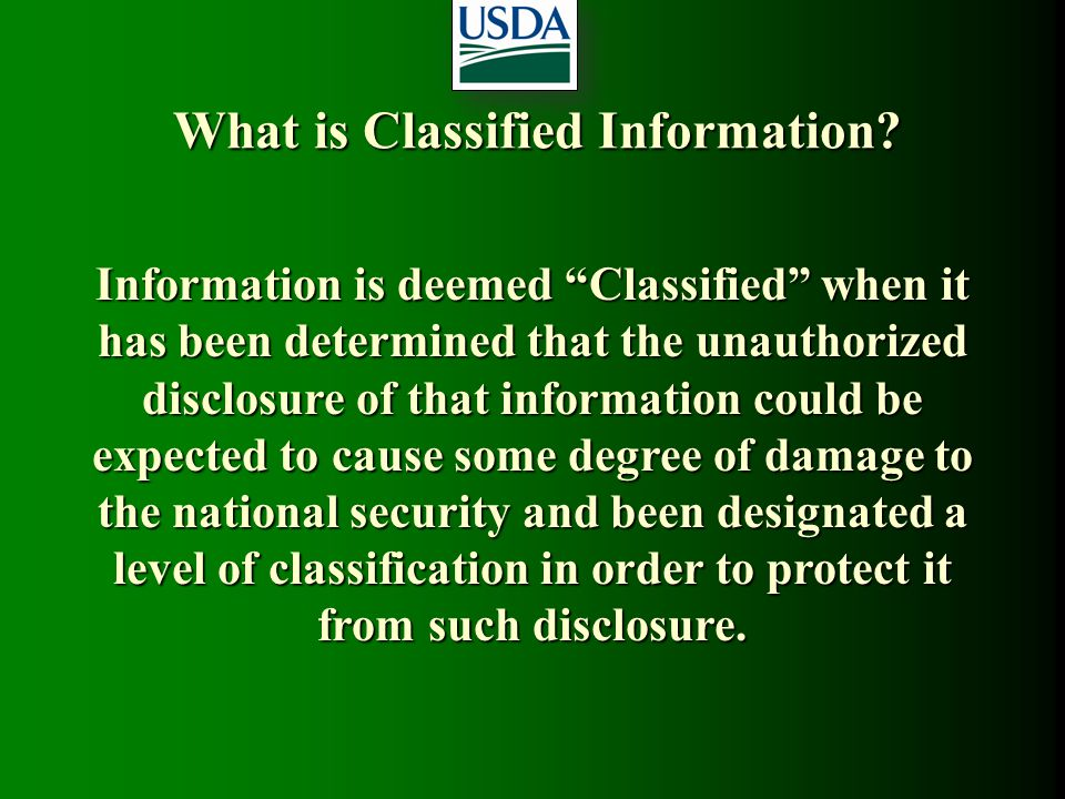 What is Classified Information