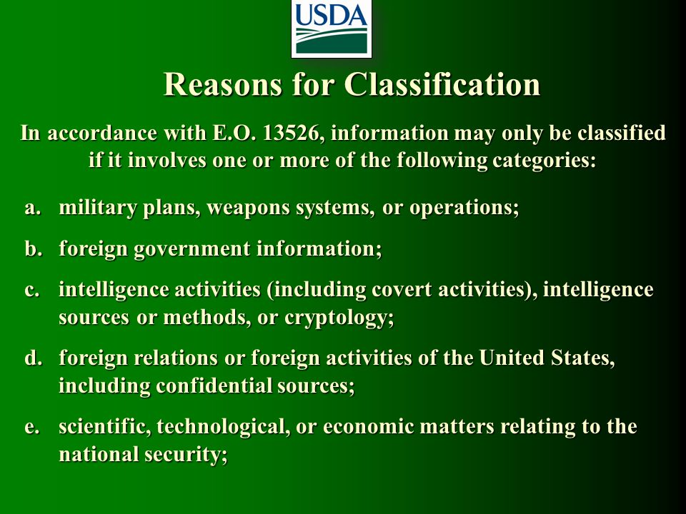 Reasons for Classification