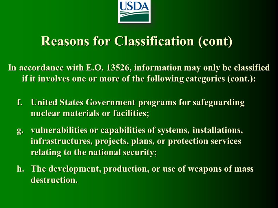 Reasons for Classification (cont)