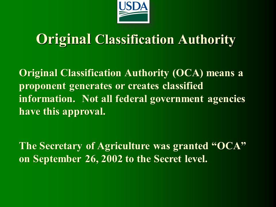 Original Classification Authority