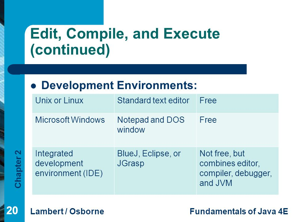 Edit, Compile, and Execute (continued)