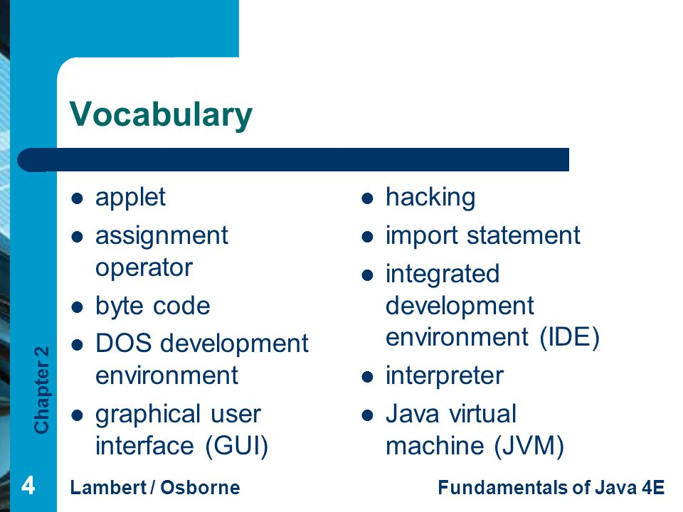Vocabulary applet assignment operator byte code
