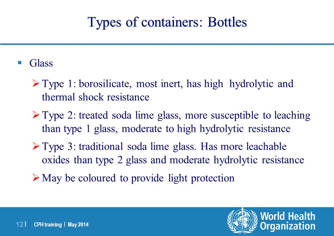 Types of containers: Bottles
